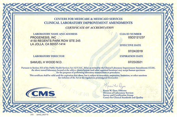 progenesis cms accreditations licenses certificate